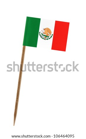 Tooth pick wit a small paper flag of Mexico - stock photo