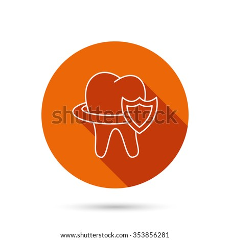 Tooth protection icon. Dental shield sign. Round orange web button with shadow. - stock photo