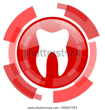 tooth red glossy web icon