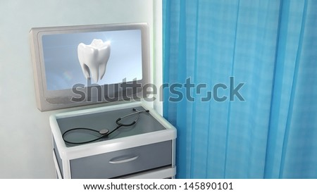 tooth screen in medical room concept 3d render