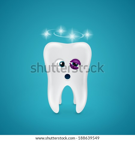 Tooth with a black eye and dizziness on blue background
