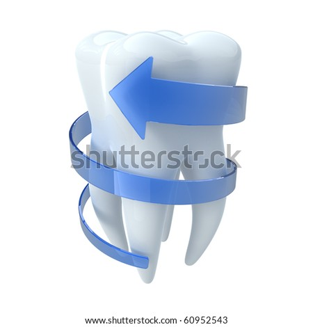 Tooth with blue arrow - stock photo