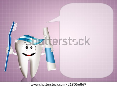 Tooth with comic for dentist - stock photo