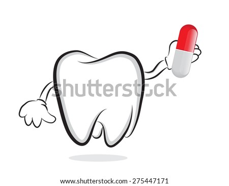 Tooth with pill as concept for oral care - stock photo