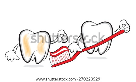 Tooth with toothbrush and toothpaste chasing another tooth - stock photo