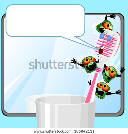 Toothbrush in glass near mirror with germs and speech bubble - stock photo