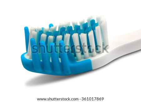 Toothbrush isolated on white background. Close-up view. - stock photo