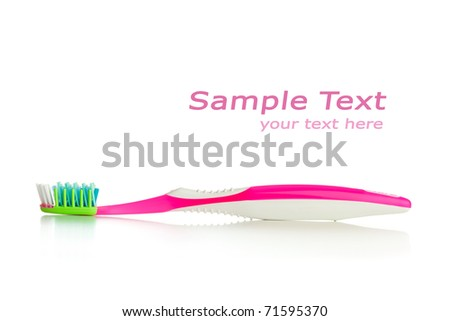 toothbrush isolated on white with copy-space - stock photo