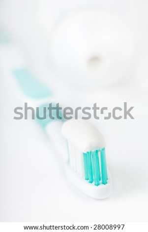 Toothbrush & toothpaste a isolated on white background. - stock photo