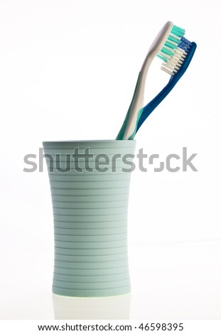 Toothbushes in  Holder - stock photo