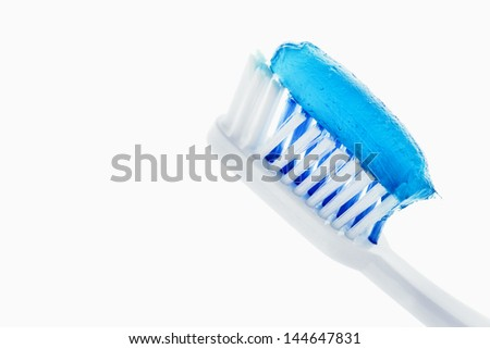 toothpaste and toothbrush - stock photo