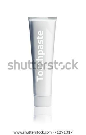 toothpaste tube isolated on white - stock photo