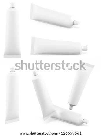 Toothpaste white tube different views - stock photo