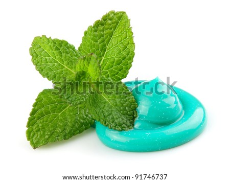 Toothpaste with mint on a white background