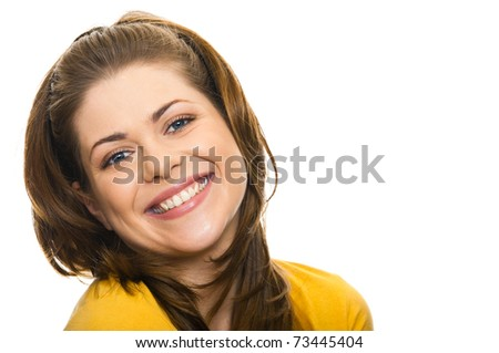 Toothy smile woman closeup portrait on white - stock photo