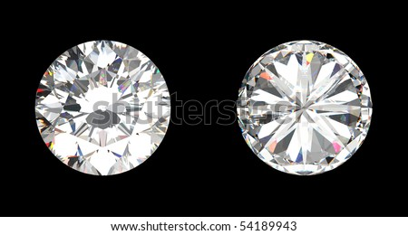 top and bottom view of large diamond over the black background - stock photo