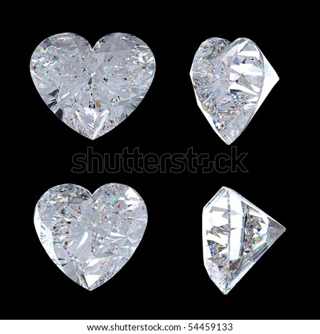 Top and side views of heart shaped diamond. Over black, Extralarge resolution. - stock photo