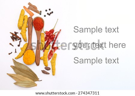 Top angle shot of Indian Spices. Spice in Wooden spoon. Herbs. Curry, Saffron, turmeric, cinnamon and other isolated on a white background - stock photo