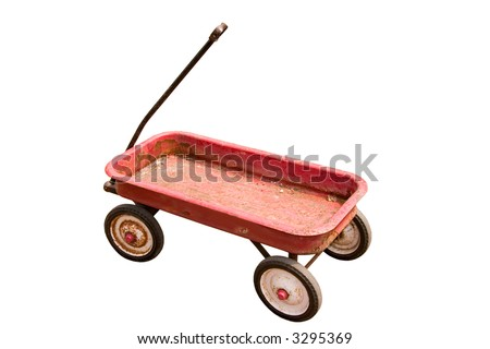 Top angle view of an old rusted red wagon isolated on white.