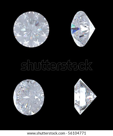 Top, bottom and side views of brilliant diamond. Over black. Other gems are in my portfolio. Extralarge resolution - stock photo
