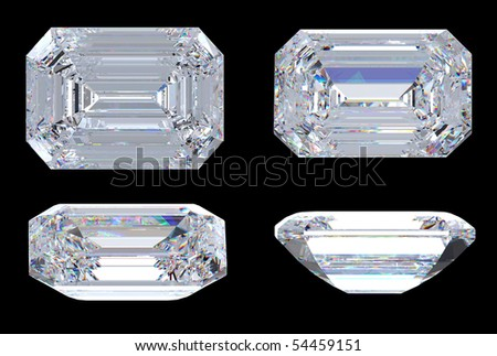 Top. bottom and side views of Emerald diamond. Over black, Extra large resolution. - stock photo