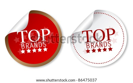 Top brands stickers - stock photo
