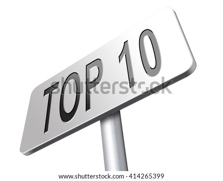 top 10 charts list pop poll result and award winners chart ranking music hits best top ten quality rating prize winner road sign billboard 