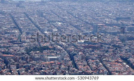 Top city view from Tibidabo, Barcelona, Catalonia, Spain,