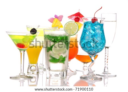 Top Cocktails. Many drinks beverages Blue lagoon, mojito; tropical  Martini, tequila sunrise, margarita, champagne and cognac glass, cocktail umbrella, cherry, lime and pineapple on white background - stock photo