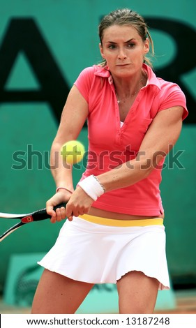 Top Czech's professional tennis player Iveta Benesova in action during her match at French Open, Roland Garros. Paris, France. May 2008. - stock photo