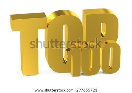 Top 100, 3d illustration isolated on white background - stock photo