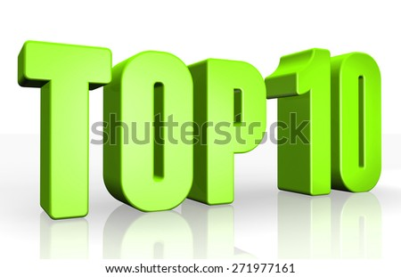 Top 10 - 3d illustration on white background - stock photo