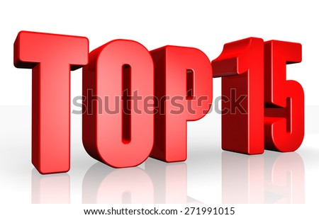 Top 15 - 3d illustration on white background - stock photo