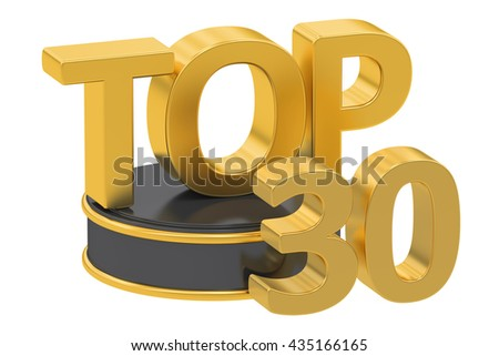 Top 30, 3D rendering isolated on white background - stock photo