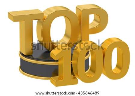 Top 100, 3D rendering isolated on white background - stock photo