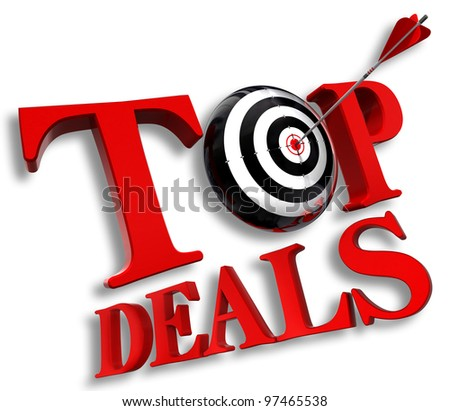 top delas red logo with conceptual target and arrow on white background clipping path included - stock photo