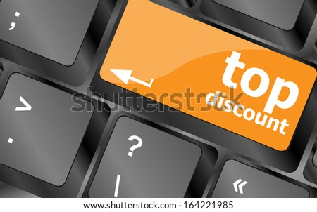 top discount concept sign on computer keyboard key - stock photo