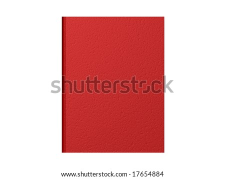 Top down view of a closed red book with a textured cover. - stock photo