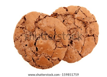 Top Down View Of A Pair Of Chocolate Chewy Cookies Isolated On White Background - stock photo