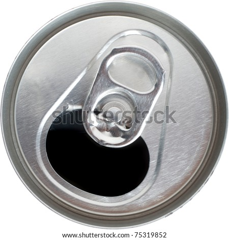 Top Down View of an Open Silver Soda Pop Can - stock photo