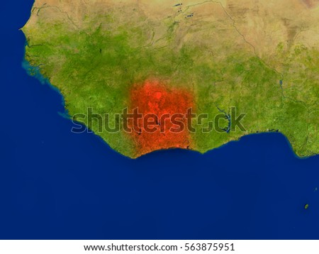 Top-down view of Ivory Coast hightlighted in red as seen from Earth's orbit in space. 3D illustration with highly detailed realistic planet surface. Elements of this image furnished by NASA.