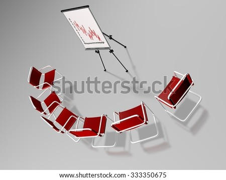 Top-down view of six conference room chairs in a ring around a flip chart which represents a decreasing curve diagram, on a semi-reflexive grey surface - stock photo