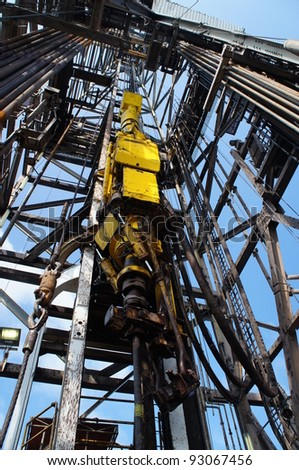 Top Drive System (TDS) for Oil Drilling Rig - stock photo