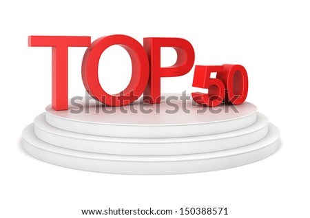 Top fifty. 3d illustration on white background
