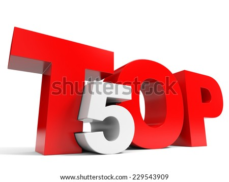 Top 5. Five. 3D illustraion. - stock photo