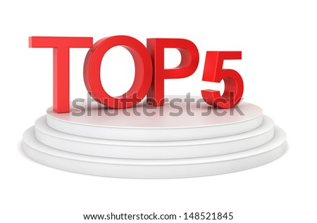 Top five. 3d illustration on white background  - stock photo