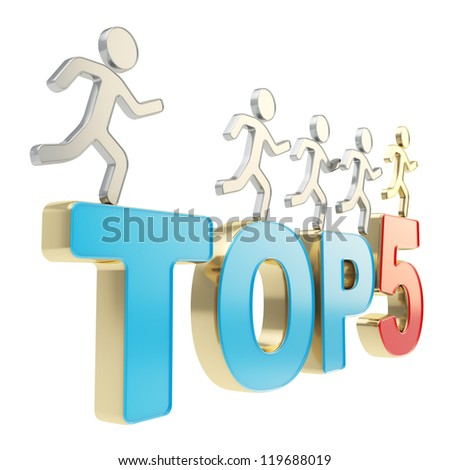 Top five leaders illustration: group of human symbolic figures running over red and blue Top-5 composition isolated on white background