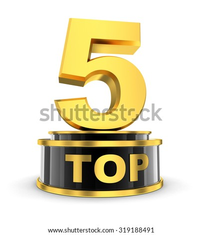 Top five on white background (done in 3d) - stock photo