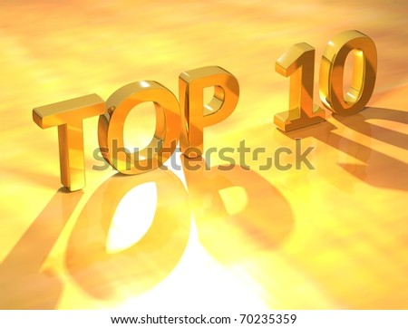 Top 10 Gold Text - stock photo