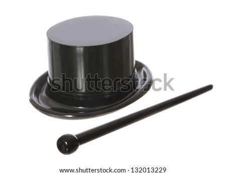 Top hat with a black cane isolated on white background - stock photo